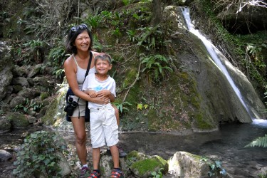 g and mom at little waterfall