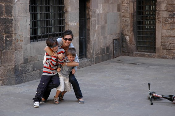 mom and boys gothic quarter