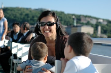 Susan and boys on Danube cruise